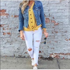 Evereve Striped Tie Top Yellow
